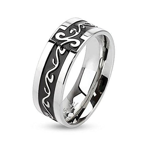BodyJ4You Ring Couple Flower Tribal Men Black Stainless Steel Size 8 Fashion Jewelry - BodyJ4you