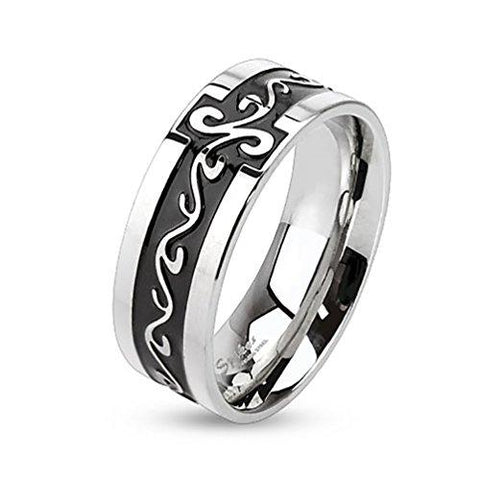 BodyJ4You Ring Couple Flower Tribal Women Black Stainless Steel Size 8 Fashion Jewelry - BodyJ4you