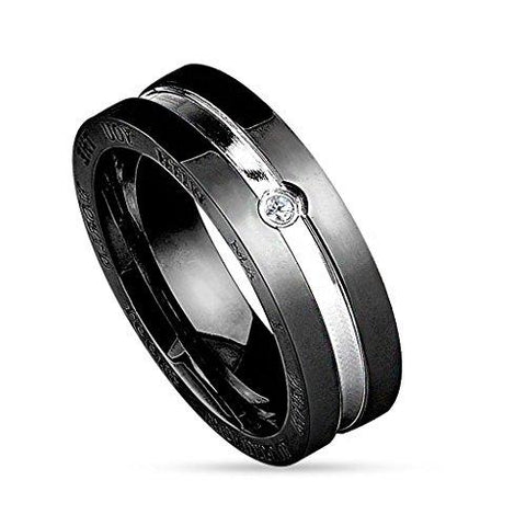 BodyJ4You Ring Couple His Hers Men Black Stainless Steel Size 11 Fashion Jewelry - BodyJ4you