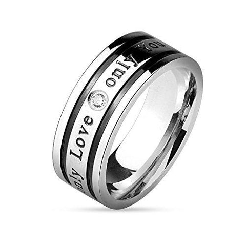 BodyJ4You Ring Couple His Hers Men Stainless Steel Size 9 Fashion Jewelry - BodyJ4you