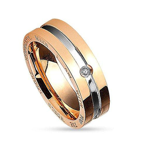 BodyJ4You Ring Couple His Hers Women Rose Goldtone Stainless Steel Size 5 Fashion Jewelry - BodyJ4you