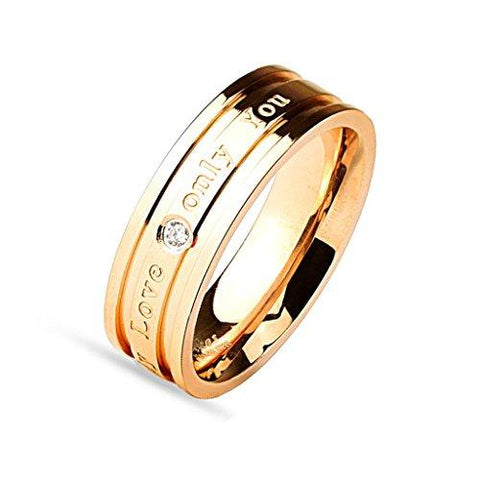 BodyJ4You Ring Couple His Hers Women Rose Goldtone Stainless Steel Size 6 Fashion Jewelry - BodyJ4you