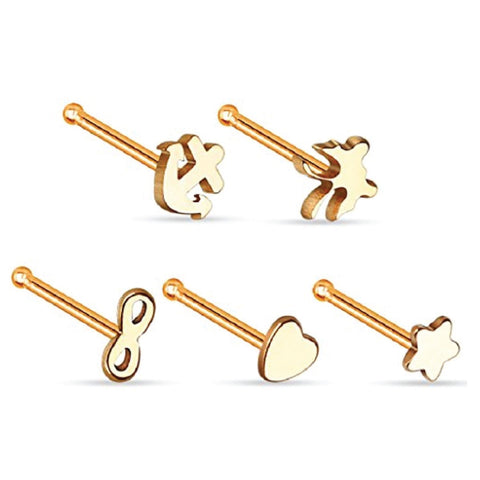 BodyJ4You Rose Goldtone Nose Ring Stud Pack Steel 5PC - BodyJ4you