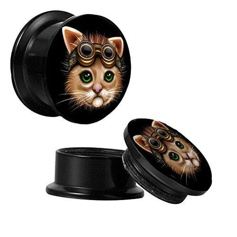BodyJ4You Screw Fit Plugs Steampunk Cat 6G-14mm 2PC - BodyJ4you