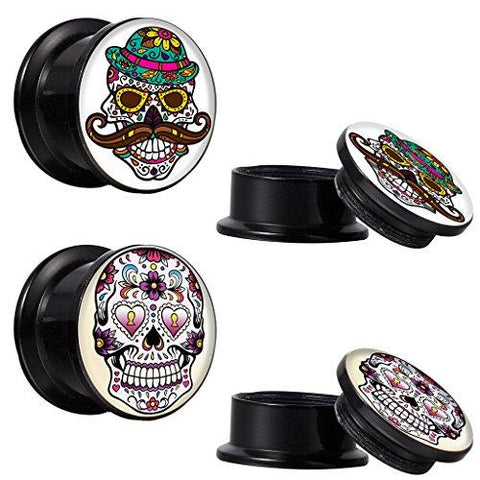BodyJ4You Screw Fit Plugs Sugar Skull Kit 6G-14mm (4PC) - BodyJ4you