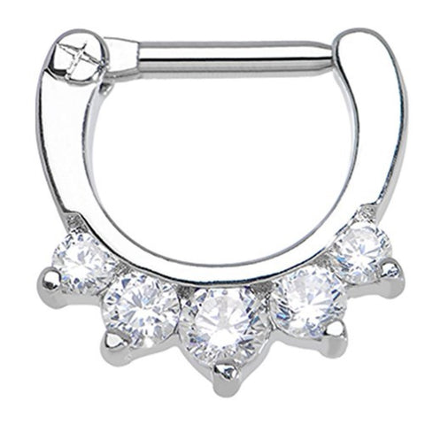 "BodyJ4You Septum Clicker 16 Gauge 1/2"" Five Clear Cubic Zirconia Piercing Jewelry - BodyJ4you"