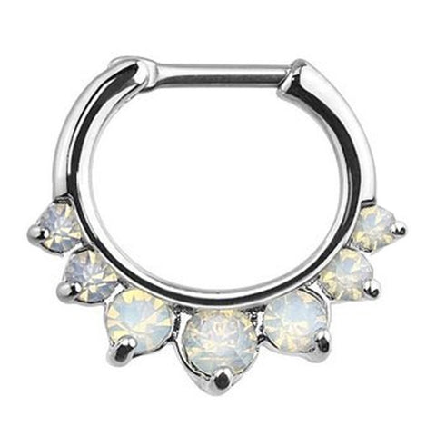 BodyJ4You Septum Clicker Ring 16 Gauge Crystal Aurora Gem Piercing Body Jewelry - BodyJ4you