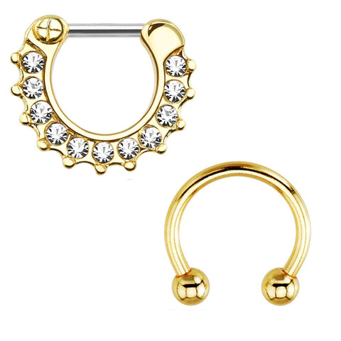 BodyJ4You Septum Clicker with Horseshoe Circular Barbell 16 Gauge Goldtone Royal Clear Gem - BodyJ4you