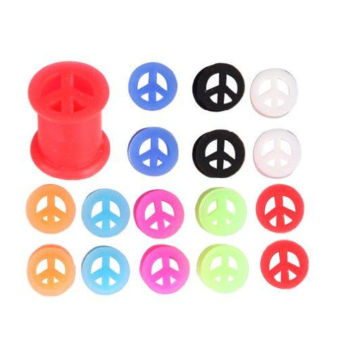 BodyJ4You Silicone Tunnel Plug 0G Kit Silicone Peace Sign 8mm, 0 Gauge (16 Pieces) - BodyJ4you
