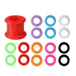 BodyJ4You Silicone Tunnel Plug Set Mix Colors Sparkles Double Flare, Gauges Kit 2G,0G,00G,12mm - 8 Pairs - BodyJ4you