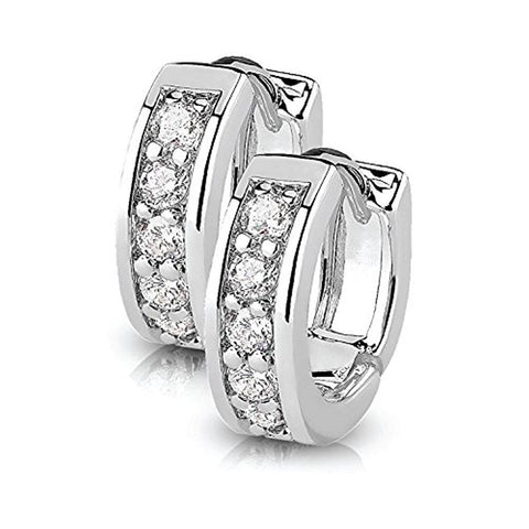 BodyJ4You Small Earrings Hoops Huggie Half Circle Pave CZ Crystal Clear Stainless Steel 12mm Hoop - BodyJ4you