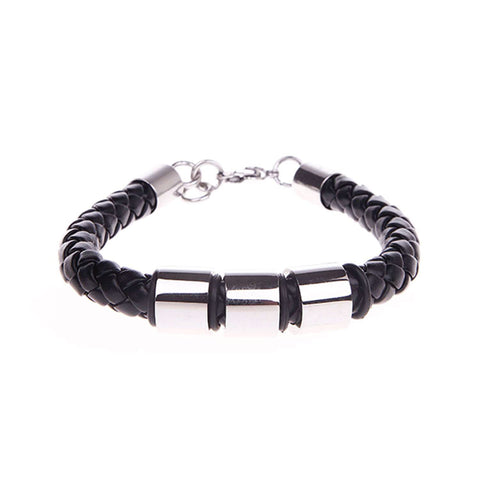 BodyJ4You Stainless Steel Leather Men's Bracelet Braided Black Genuine Leather Bracelet - BodyJ4you