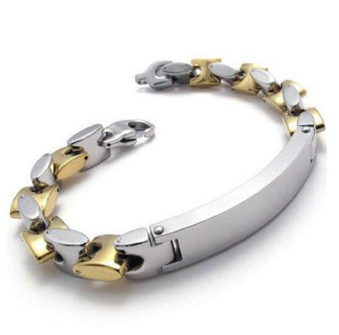 "BodyJ4You Stainless Steel Men's Bracelet Biker Bangle Two-tone Bracelet 9"" - BodyJ4you"