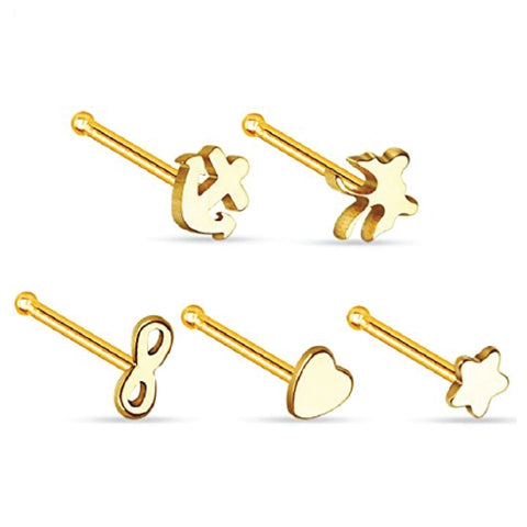 BodyJ4You Stud Nose Ring Pack Steel Goldtone 5 Pieces - BodyJ4you