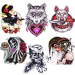 BodyJ4You Temporary Tattoo Flash Henna Body Face Anime Girl Rose Floral Biker Skull Glow Dark Color - BodyJ4you