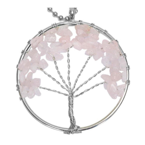 BodyJ4You Tree of Life Necklace Pink Chalcedony Natural Stones Pendant … - BodyJ4you