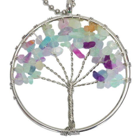 BodyJ4You Tree of Life Necklace Rainbow Fluorite Natural Stones Pendant - BodyJ4you