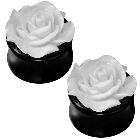 BodyJ4You White Rose Saddle Plugs 0G-18mm (2 Pieces) - BodyJ4you