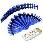 37PC Gauges Kit Ear Stretching Aftercare Balm 14G-00G Multicolor Splatter Acrylic Taper Plug