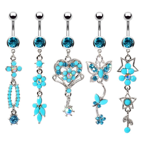 BodyJ4You 5PCS Belly Button Rings 14G Hamsa Star Dremcatcher Peace Steel CZ Women Navel Piercing
