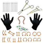 BodyJ4You 36PC PRO Piercing Kit Stainless Steel 14G 16G Nose Ring Septum Tongue Belly Jewelry