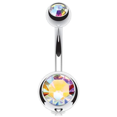 Curved Barbell Multicolor Steel 14G Navel Belly Ring Eyebrow Nipple - BodyJ4you