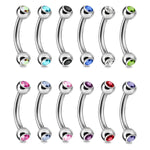 Curved Barbell Multicolor Steel 16G Nipple Eyebrow Daith Tragus Septum Lip - BodyJ4you