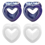 BodyJ4You 4PC Ear Plugs Heart Tunnels Glossy Multicolor Acrylic 2G-14mm Double Flare Expanders