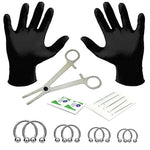 BodyJ4You 18PC PRO Piercing Kit Steel 16G Horseshoe Ring Barbell Septum Nipple Lip Ear Body Jewelry
