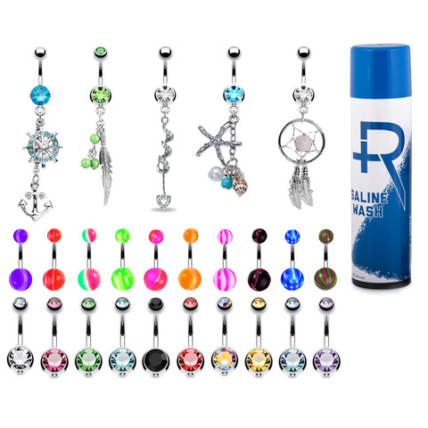 BodyJ4You 65 Belly Button Rings Dangle Bars Aftercare Saline Spray 14G CZ Navel Body Jewelry