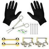 BodyJ4You 14PC Professional Piercing Kit 14G Tongue Barbells Nipple Rings Stainless Steel Jewelry