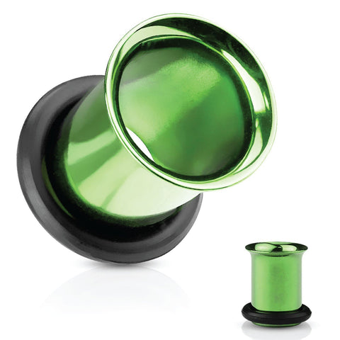 Ear Tunnel Plugs Single Flare Gauges 00G-10G Green Flesh Earrings Stretching Jewelry - BodyJ4you