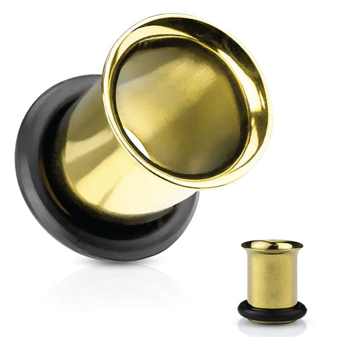Ear Tunnel Plugs Single Flare Gauges 25MM-14G Goldtone Flesh Earrings Stretching Jewelry - BodyJ4you
