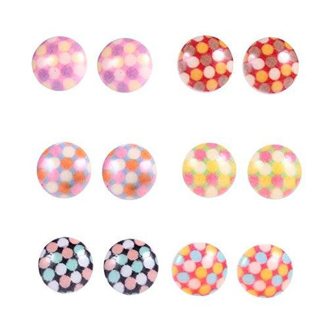 Earrings Lot Studs, Round Polka Dot 12 Pieces Set on Nylon Posts - BodyJ4you