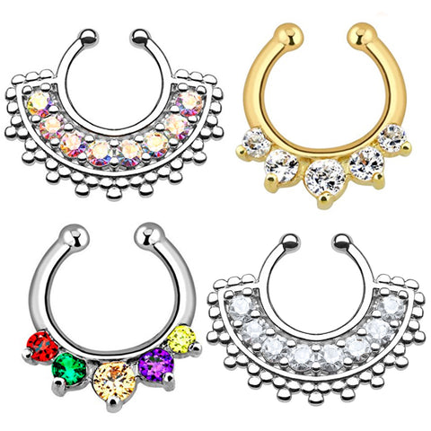 BodyJ4You 4PC Fake Septum Hanger Nose Ring Non-Piercing Multicolor Steel CZ Crystals Piercing