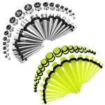 72PCS Gauges Kit 14G-00G Glow Dark Acrylic Steel Tunnel Plug Taper Stretch Jewelry