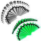 BodyJ4You 72PCS Gauges Kit 14G-00G Glow Dark Acrylic Steel Tunnel Plug Taper Stretch Jewelry