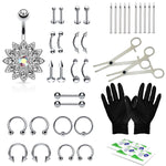 36PC Professional Piercing Kit Steel 14G 16G Flower Belly Ring Tongue Tragus Nipple Lip Nose Jewelry