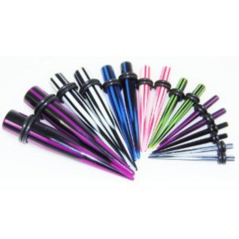Gauges Kit 7 Pairs Mixed Color Checkerboard Acrylic Tapers 10G 8G 6G 4G 2G 0G 00G 14 Pieces - BodyJ4you