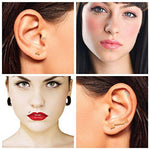 Labret Piercing Stud 16G Surgical Steel Lined CZ Curve Earrings Barbell - BodyJ4you