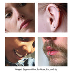 Piercing Ring Hinged Clicker Segment Hoop 4G-20G Black Steel Nose Septum Lip Tragus - BodyJ4you