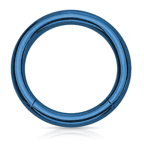 Piercing Ring Hinged Clicker Segment Hoop 4G-20G Blue Steel Nose Septum Lip Tragus - BodyJ4you