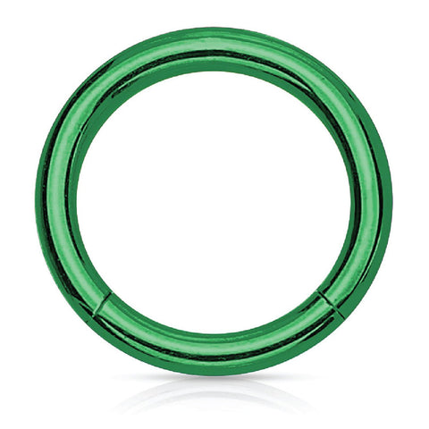 Piercing Ring Hinged Clicker Segment Hoop 4G-20G Green Steel Nose Septum Lip Tragus - BodyJ4you
