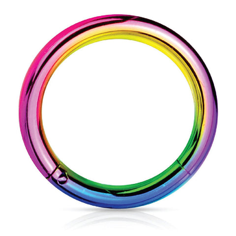 Piercing Ring Hinged Clicker Segment Hoop 4G-20G Rainbow Steel Nose Septum Lip Tragus - BodyJ4you