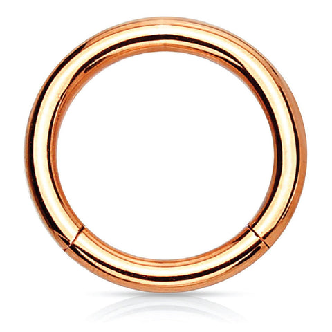 Piercing Ring Hinged Clicker Segment Hoop 4G-20G Rose Goldtone Steel Nose Septum Lip Tragus - BodyJ4you
