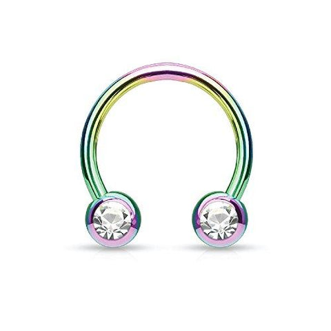 Piercing Ring Horseshoe CZ Circular Barbell Rainbow Stainless Steel 14G 12mm Piercing Jewelry - BodyJ4you
