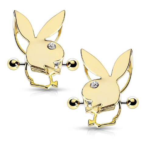 Playboy Nipple Bar Bunny Crystals Double Tier Shields Goldtone 14G Jewelry 2PCS - BodyJ4you