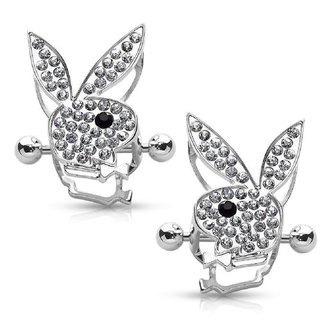 Playboy Nipple Bar Bunny Crystals Paved Double Tier Shields Goldtone 14G Jewelry 2PCS - BodyJ4you