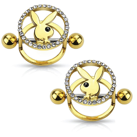Playboy Nipple Bar Bunny CZ Paved Circle 316L Goldtone Surgical Steel 14G Jewelry 2PCS - BodyJ4you