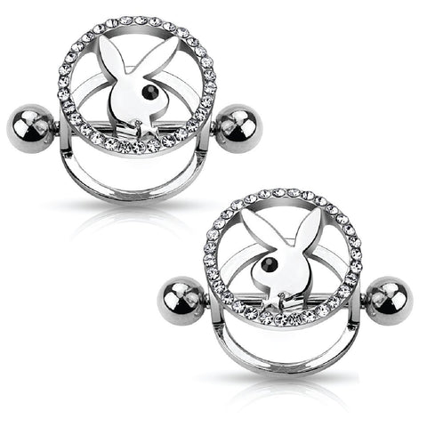Playboy Nipple Bar Bunny CZ Paved Circle 316L Surgical Steel 14G Jewelry 2PCS - BodyJ4you
